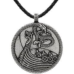 Collar de inspiración nórdica, con colgante de plata envejecida de diseño vikingo medieval de barco y correa de piel con nudo escandinavo, unisex