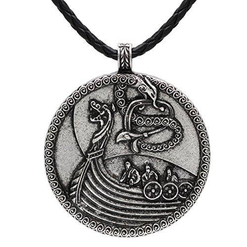vichingo medievale barca nave Norse Odin lupo ciondolo collana argento antico in pelle scandinavo nodo Raven Mjolnir donna uomo celtico Norreno nordico Rune Talisman Saxon