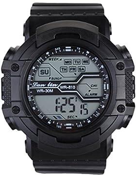 YAZILIND Unisex Sportuhr Multifunktions Led Licht Digital Wasserdichte Armbanduhr (schwarz)