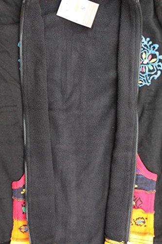 SHOPOHOLIC FASHION Femmes Doublure Polaire Hippie Rainbow Noir Veste Noir
