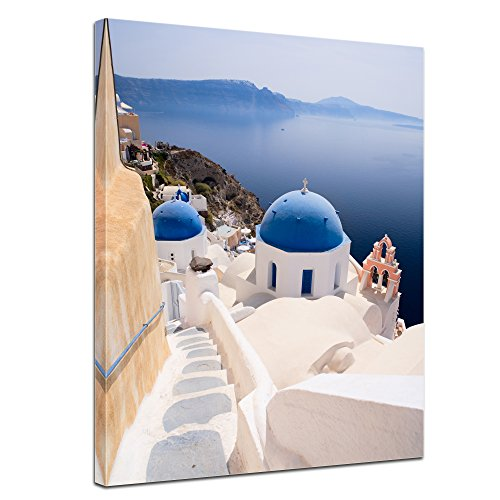 Kunstdruck - Santorini Blick - Bild auf Leinwand - 40x50 cm - Leinwandbilder - Bilder als Leinwanddruck - Wandbild von Bilderdepot24 Einfach Südlichen Baumwolle