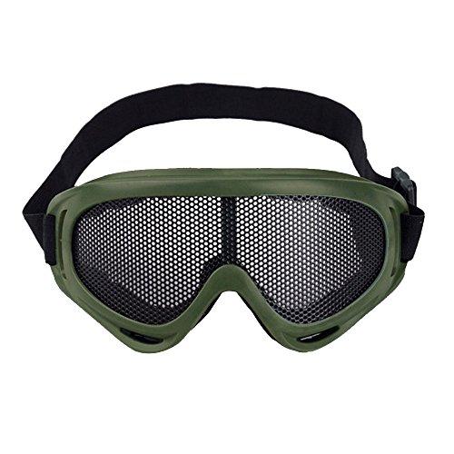 Sijueam Airsoft Metallgitter Schutzbrille Brille Anti Fog Paintball für Outdoor Sport Radfahren Grün (Softair Paintballs)