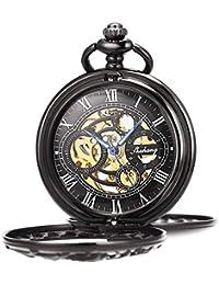 Reloj de Bolsillo para Hombre con Cadena Vintage Esqueleto Dream Dragon Burlywood Fob Reloj para Hombre y Mujer (Negro con Plata)