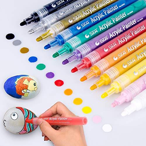 Acrylstifte Marker Stifte, Morfone Set mit 12 Farben Acrylfarben Marker auf Wasserfest für Felsmalerei, Leinwand, Fotoalbum, Heimwerken, Schulprojekt, Glas, Keramik, Holz, Metall (MEDIUM TIPP)