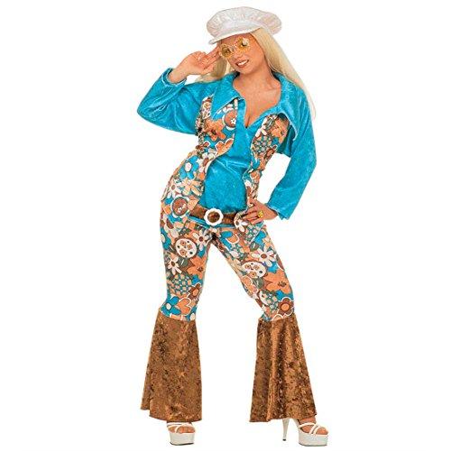 70er Jahre Damenkostüm Hippie Kostüm Frau Samt XL (46/48) Flower Power Hippiekostüm Fasching Blumenkostüm Faschingskostüm Blumen Karnevalskostüm Retro Mottoparty Verkleidung Karneval Kostüme Männer