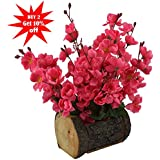 Fancy Mart Artificial Blossom Flowers ( 12 Inch / 30 cms) In Wood Buckle Pot-1579