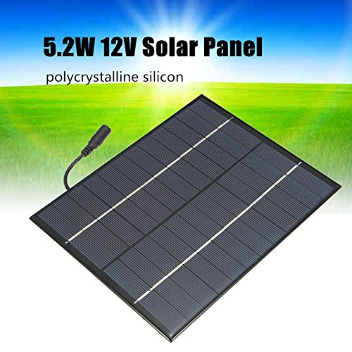 TOOGOO 12V 5.2W Mini panel solar Celulas solares policristalinas de silicio Sistema de Modulo de bricolaje de Epoxi Solar Cargador de bateria + salida de CC (precio: 8,51€)