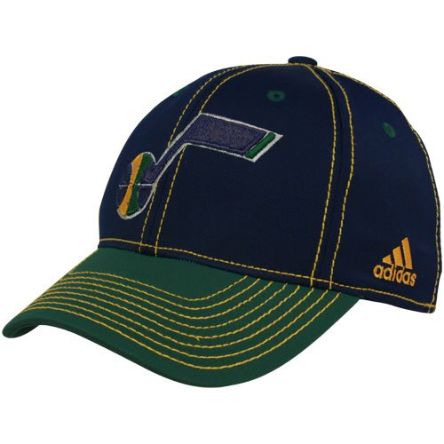 Tactel Flex-cap (adidas NBA Utah Jazz Marineblau-Grün Tactel Flex Hat, Unisex, Navy Blue, Green, Adult S/M)