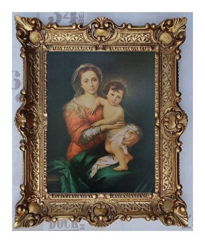 Bild Bilder Gemälde mit Ornamentverziehrungen in den Rahmen montiert 56x46 cmReligiös Mutter Maria...