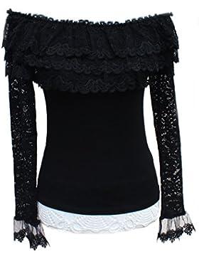 Para mujer manga larga con Print Negro Marrón túnica