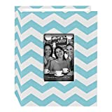 "Pioneer Photo Albums CHEV-100 Chevron Fabric Frame Photo Album with 100 Pockets Hold, 4 x 6"", Aqua/White"