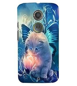 ColourCraft Lovely Angel Cat Design Back Case Cover for MOTOROLA MOTO X2