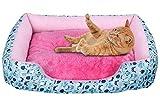 ZhuikunA Liege Hundebett Katzenbett Baumwolle Haustier Bett Kissen für Hunde Katzen Kleintiere Kissen Blau XL