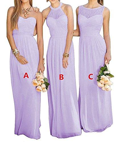 ffon Abendkleider Lang Elegant Partykleider Brautjungfernkleider Hochzeit Ballkleider(Lavendel C,38) (Handgefertigtes Cinderella Kleid)