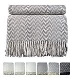 STTS International Baumwolldecke sehr weiches Plaid Wohndecke Kuscheldecke 70% Baumwolle Marbella (130 x 170 cm, Beige-Weiß)