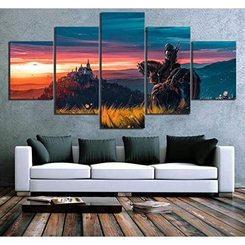 XZZZN Impresiones sobre Lienzo 5 Piezas Witcher 3 Wild Hunt Game Wall Art Pictures Poster Living Room Painting… 2