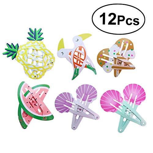 STOBOK Snap Haarspangen Blumendruck Barrettes Haarschmuck für Baby Kleinkinder Mädchen 12st (Haarspange Mädchen Für)
