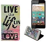 K-S-Trade Für Archos 50e Neon Schutz Hülle 360° Wallet Case ''live Life Love'' Schutzhülle Handy Tasche Handyhülle Etui Smartphone Flip Cover Standfunktion (1x)