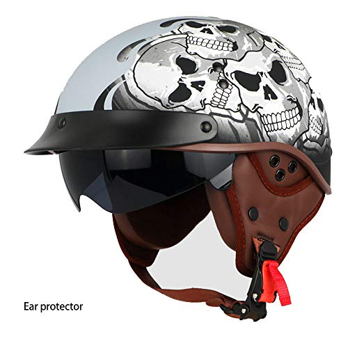 XBECO Moto CASCHI-Braincap Wehrmacht Steel Half Shell Moto Vespa Scooter Jet Bobber Casco Four Seasons Helmet DOT Certified Open Face Casco,A,L