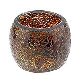 Homyl Mosaikglas Windlicht Teelichthalter Teelicht Kerzenhalter Mosaik Deko Kugel, Farbwahl - Braun