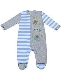 Algodón Pelele gris azul con rayas multicolores y parche para joven 8107