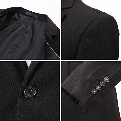 Herren Anzug Jacke Sakko Slim Fit Blazer Business Freizeit Smoking Einfarbig von Harrms, 10 Farben, Grösse 44-54 Schwarz