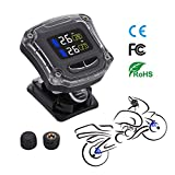 Autmor TPMS Tyre Pressure Monitoring System with 2 Sensors LCD Display Anti-Theft Function Waterproof for Motorcycles