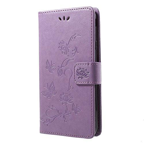 jbTec® Flip Case Handy-Hülle Book #S26 Schmetterlinge & Blumen passend für Samsung Galaxy J7 2018 - Handytasche Schutz Cover Bookstyle Booklet, Farbe:Flieder, Modell:Galaxy J7 2018 / SM-J737
