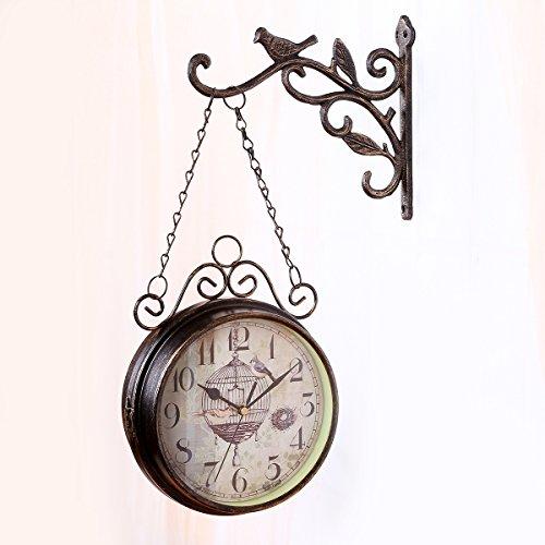Fengfeng Wanduhr, Gartenuhren für den Außenbereich, stummes Nicht-Ticking, doppelseitige Wanduhren, Vintage Ornament-Uhr, 16 Zoll