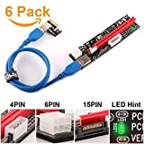 Ubit 6 Pack Latest PCI-E Riser Express Cable 16X TO 1X (6pin/MOLEX/SATA) With Led Graphics Extension Ethereum ETH Mining Powered Riser Adapter Card+60cm USB 3.0 Cable