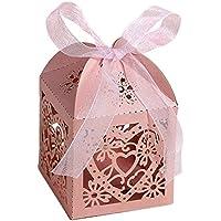 50pz Hollow Out Love Heart laser Cut Paper bag caramelle scatole regalo con nastro matrimoni Pink
