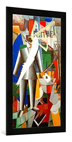 Gerahmtes Bild von Kasimir Sewerinowitsch Malewitsch Der Aviator, Kunstdruck im hochwertigen handgefertigten Bilder-Rahmen, 50x100 cm, Schwarz matt Ag Aviator
