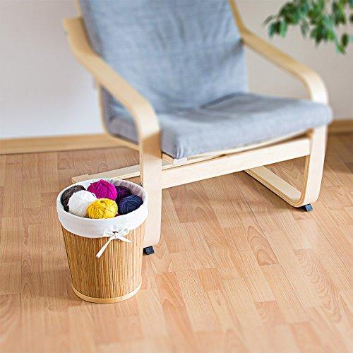 Papierkorb aus Bambus mit Stoffeinlage - 3