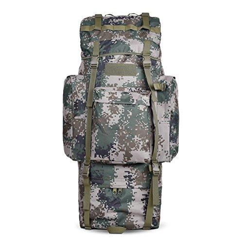 Outdoor Rucksack große Kapazität camouflage Bergsteigen Taschen Rucksack, schwarz, 100L mit Wasserdichte Haube (I) 65 L ohne wasserdichte Haube