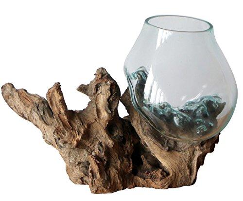 Geschenk Deko Gamal Wurzelholz Glasvase Ø Glas 18-20 cm Wurzel Holz Teakholz Vase Glas L