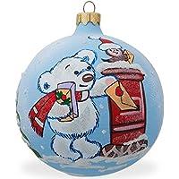 8,3cm Bear mailing list palla di vetro di Natale ornamento