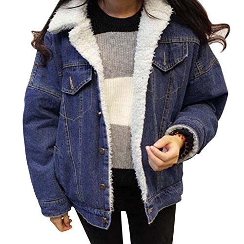Damen Warm Wintermantel Winterjacke Pelz JeansJacken