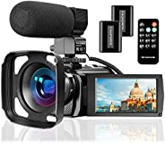 Video Camera Camcorder with Microphone, VideoSky FHD 1080P 30FPS 24MP Vlogging YouTube Cameras 16X Digital Zoo