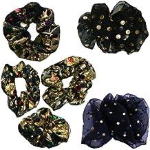 Gomas para el pelo accesorio set 6 coleteros terciopelo gasa dorado negro accesorio niñas cabello pelo trenzas