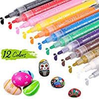 Acrylic Paint Marker Pens, DIAOCARE Set of 12 Colors Permanent Marker Pen Water Based Acrylic Paint pens for Rock Painting,Canvas,Wood,Glass,Stone,Photo Album,DIY Craft,School Project,Ceramic,Metal