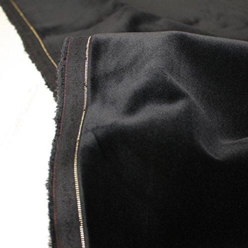 TOLKO Baumwollstoff - Weicher SAMT - abriebfest u belastbar - für Polsterungen, Vorhang, Verdunkeln u Bekleidung als Meterware (Schwarz) (Schwarze Samt Baumwolle)