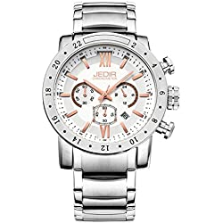 YPS Men Rome Nail Scale Multifunction Dial Calendar Display Leather Steel Strap Wrist Watch WTH5305