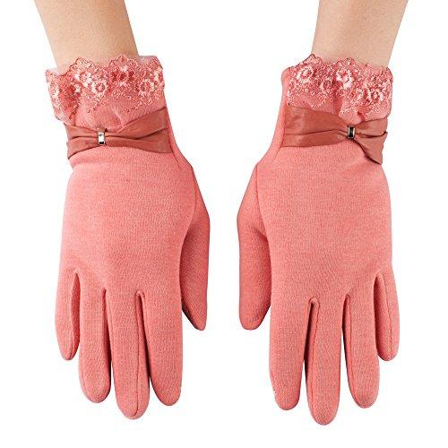 Gants pour à écran tactile élégant en cuir pour femme, avec nœud en cuir, en diverses couleurs Style 05