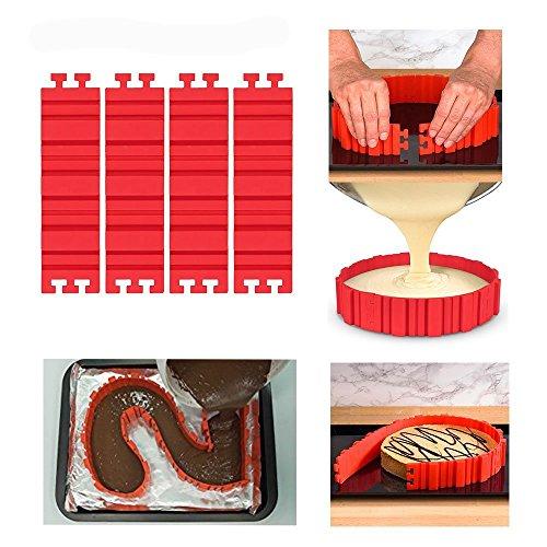 4PCS Kuchen-Backen-Form, flexibler Silikon-Kuchen, der Form-Bake-Schlange herstellt DIY Kuchen-Dessert-Backen-Waren-Form