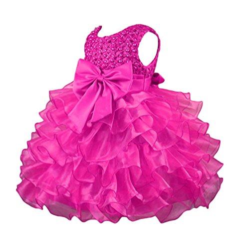 WanYang Bambini Ragazze Vestiti Da Collo Rotondi Senza Maniche Vestiti Principessa Vestito Da Cerimonia Nuziale Damigella D'onore Rose