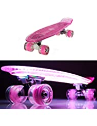 makanih Luz LED arriba tabla de skate con ruedas para intermitente Rodamientos de Bola de acero estilo Penny Retro Cruiser Longboard Street Cruiser iluminación LED ruedas? 1 año de garantía, 57 cm pink