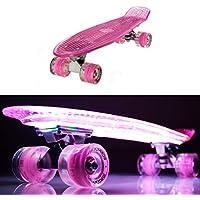 makanih Skateboard con luce LED lampeggiante Ruote in Acciaio per cuscinetti a sfera Penny Style (60 Mm Skateboard Ruote)