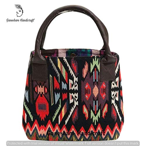 Indian Handmade Vintage Jacquard Top-Handle Handbag Tote Bag Simple Purse Fashion Designer Bags for Woman Indian Bags Messenger Bag Floral Shopping Beach Satchel Bag