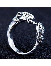 Vikingo Anillo con perros cabeza de plata plata anillo LARP Vikingo Medieval diferentes tamaños, color plata, tamaño XS/36