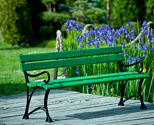 GOLD GARDEN Gartenbank mit Armlehnen TOSKANA Massivholz auf Aluminiumrahmen grün in 2 Größen (150 cm - 3-Sitzer)